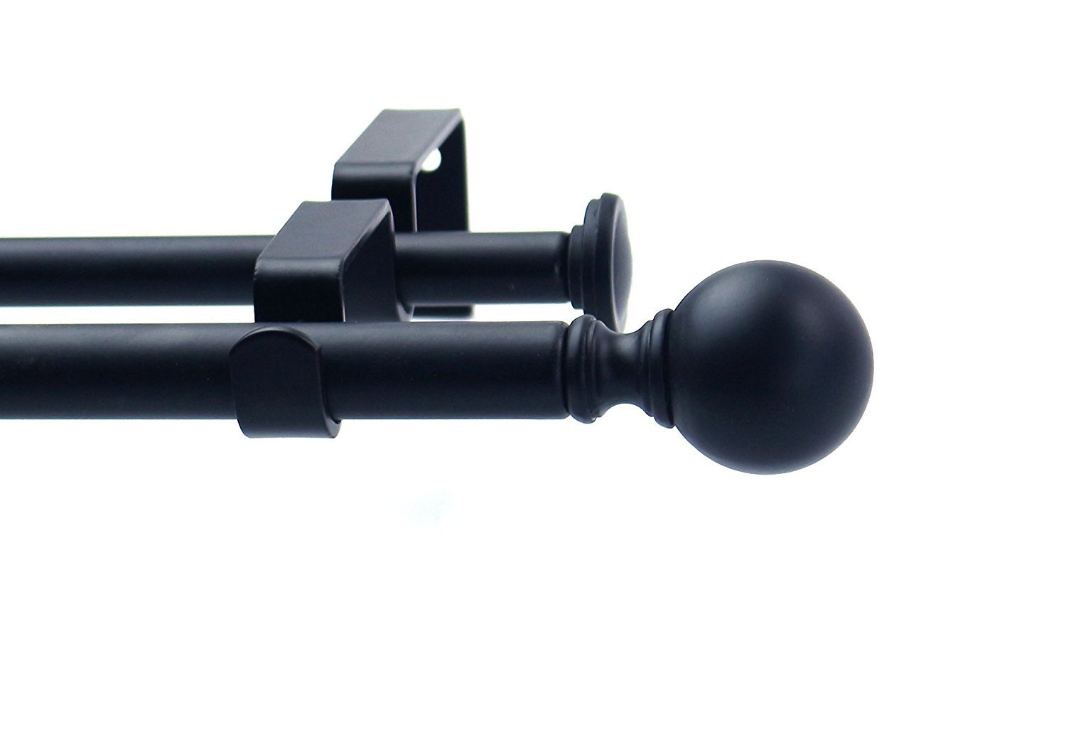 Ball Adjustable Double Drapery Curtain Rod Set, 5/8""