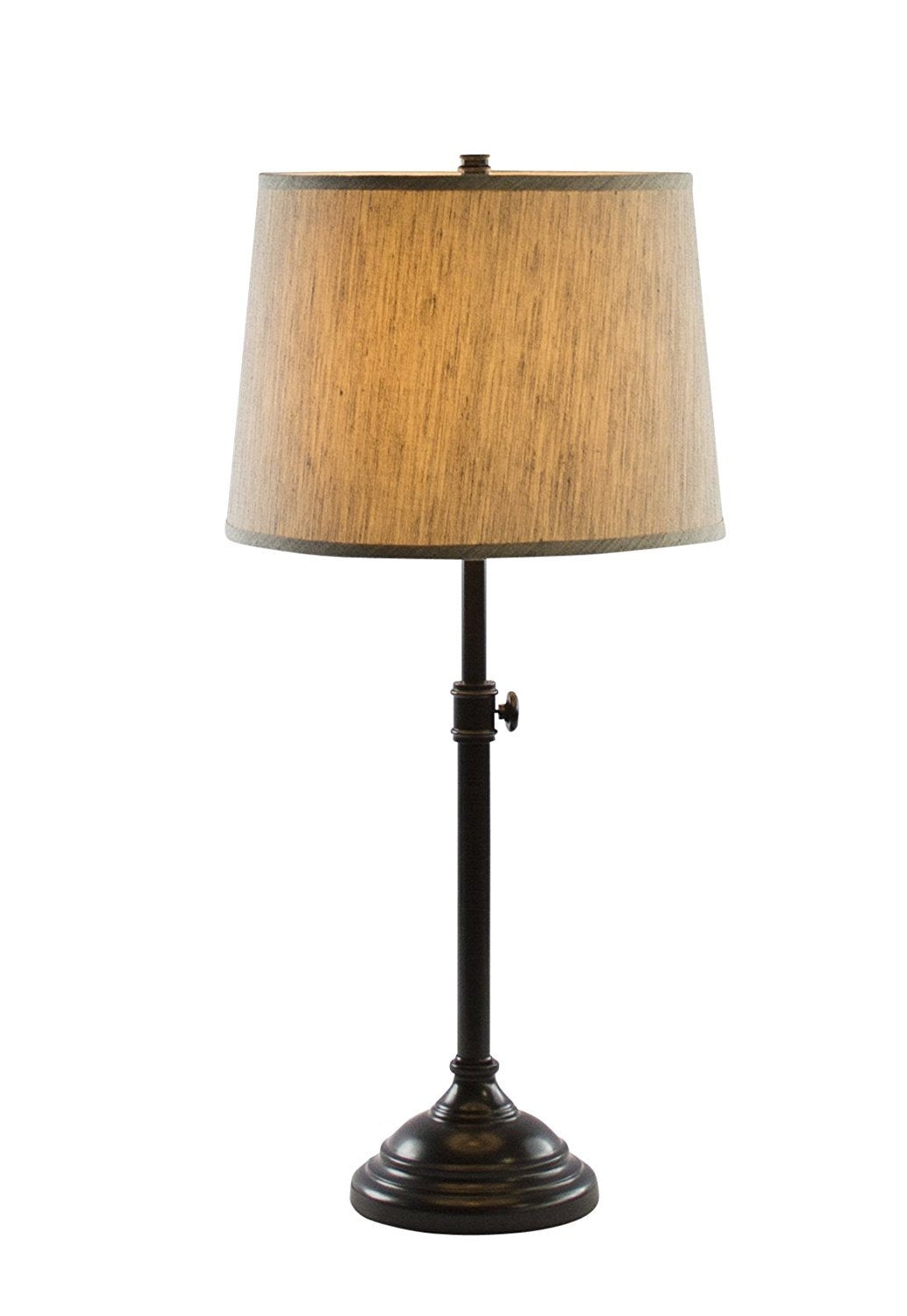 Windsor Adjustable Table Lamp, Oil-Rubbed Bronze Finish Lamp Base with Gray Tone Natural Linen Lampshade