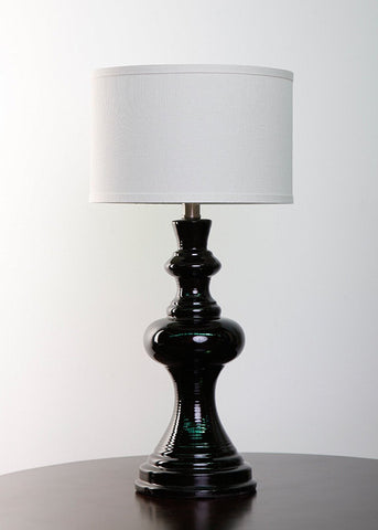 Dexter Black Ceramic Table Lamp with Linen Drum Hardback Shade