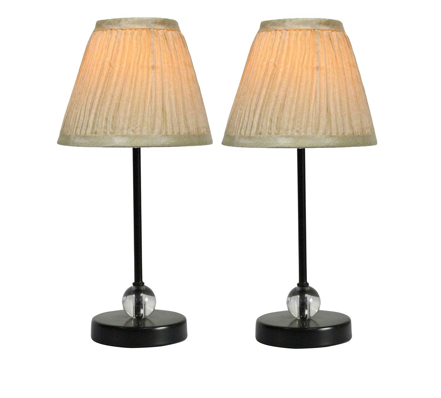 Chelsea Mini Accent Lamp with Cream Pleated Lamp Shade