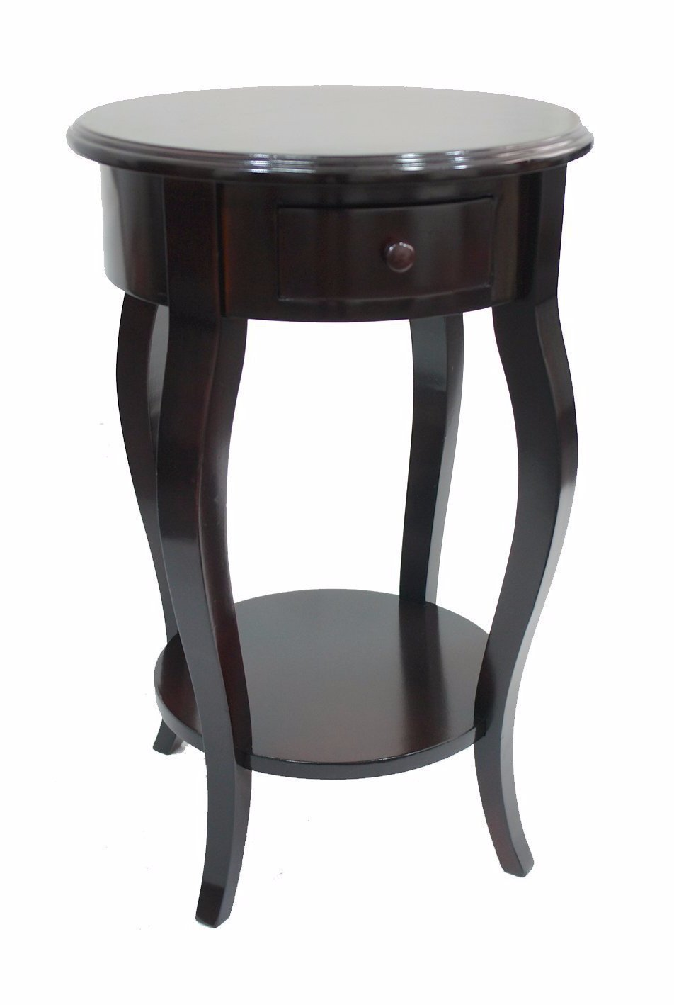 Round Accent Side Table, Dark Brown