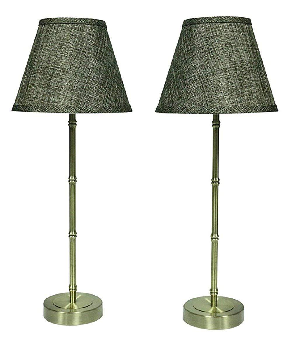 Set of 2 Bamboo-style Table Lamps with Shades