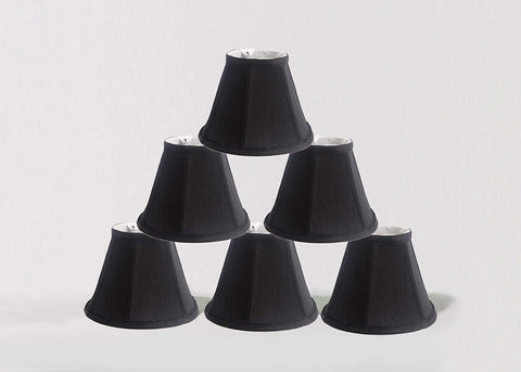 Urbanest 1100076c Chandelier Lamp Shade, 6-inch, Empire, Clip On, Black(set of 6)