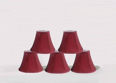 Urbanest 1100630b Chandelier Lamp Shades 6-inch, Bell, Clip On, Burgundy (Set of 5)