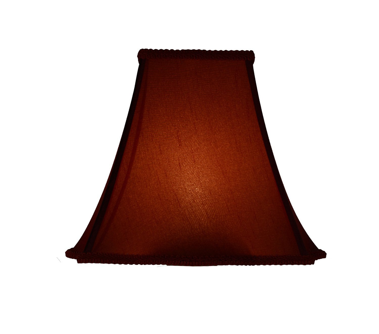 "Softback Scalloped Box Lampshade, Faux Silk, 4x10x8"", Burgundy, Spider"