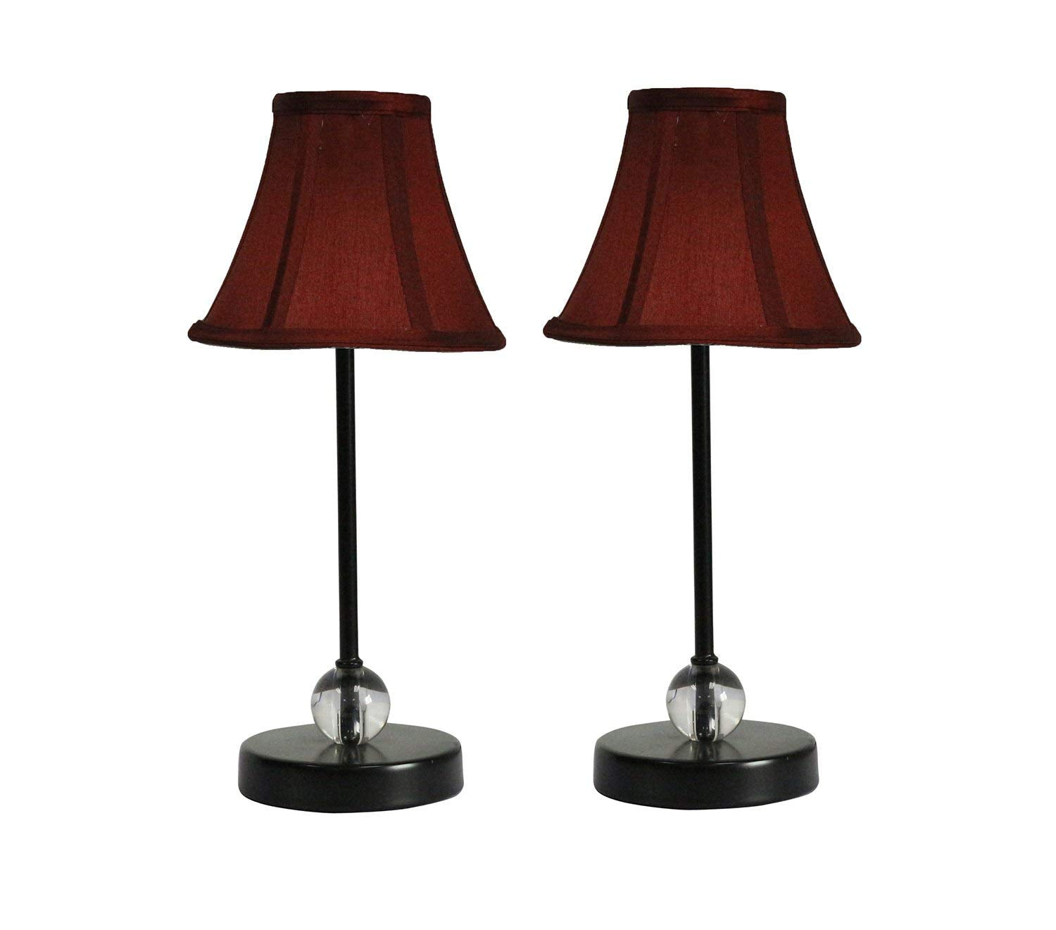 Chelsea Mini Accent Lamp with Burgundy Silk Bell Lamp Shade