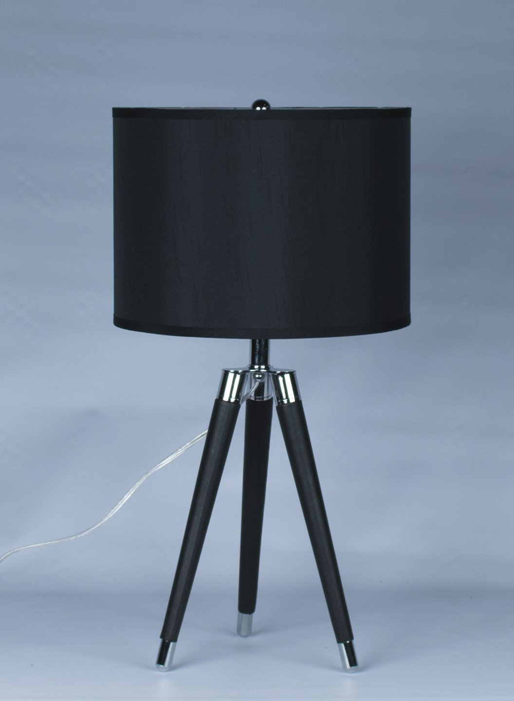 Black Mid Century Modern Tripod Leather U0026 Chrome Table Lamp With Drum  Hardback Shade