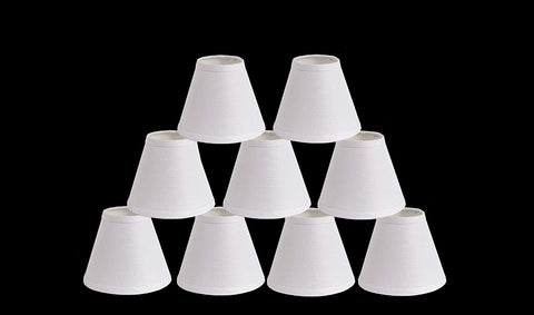 Urbanest Pure Linen Chandelier Lamp Shades, 6-inch, Hardback Clip On, White(set of 9)