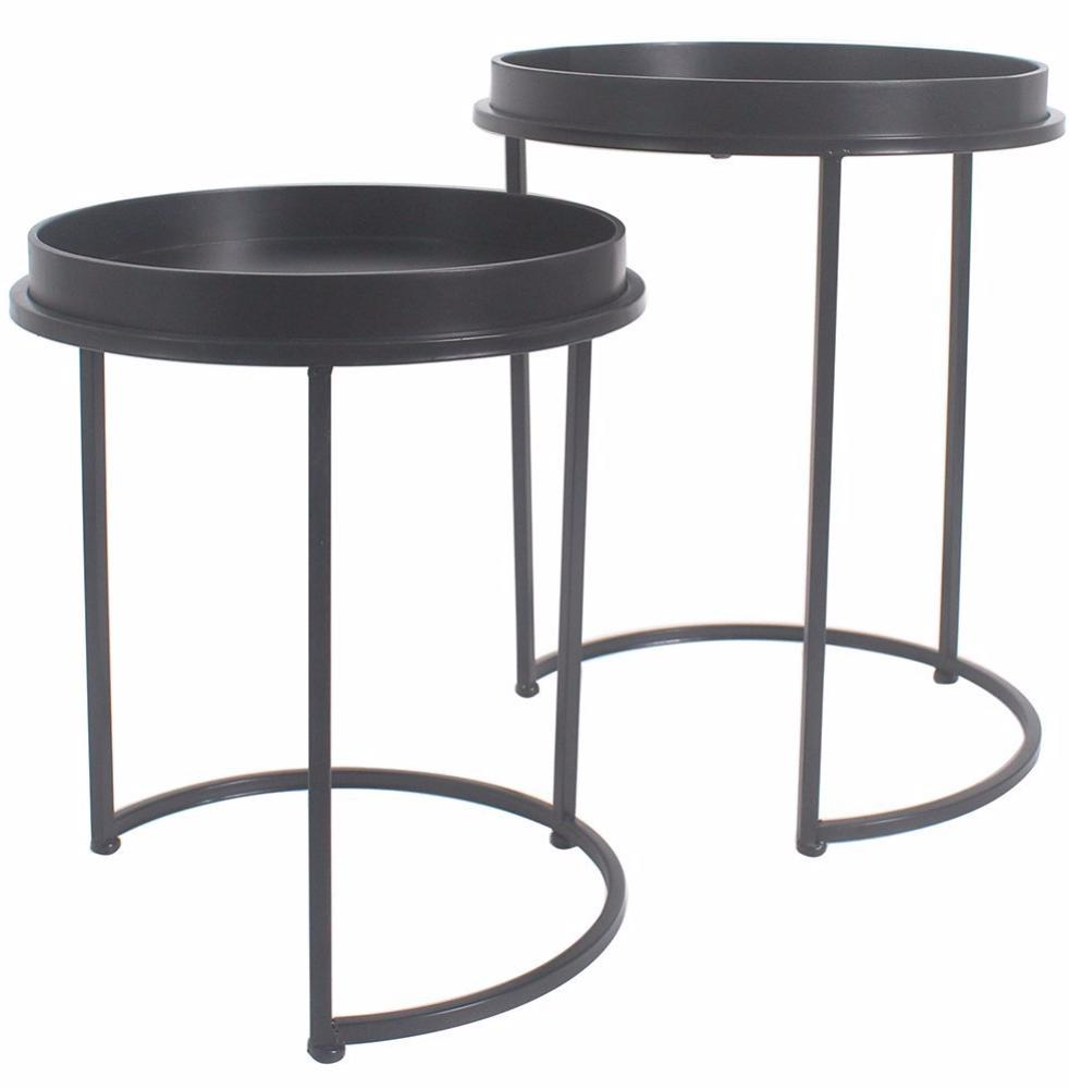 Captivating Whitney Set Of 2 Metal U0026 Wood Nesting Tables   2 Finishes