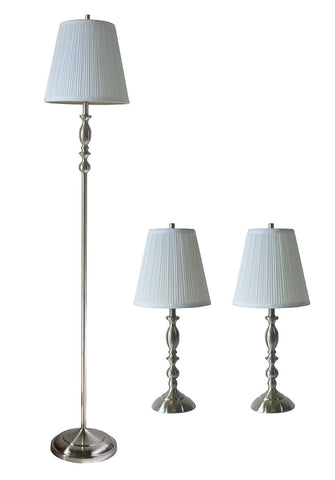 Eleanor 3-Piece Table and Floor Lamp Set with Shades