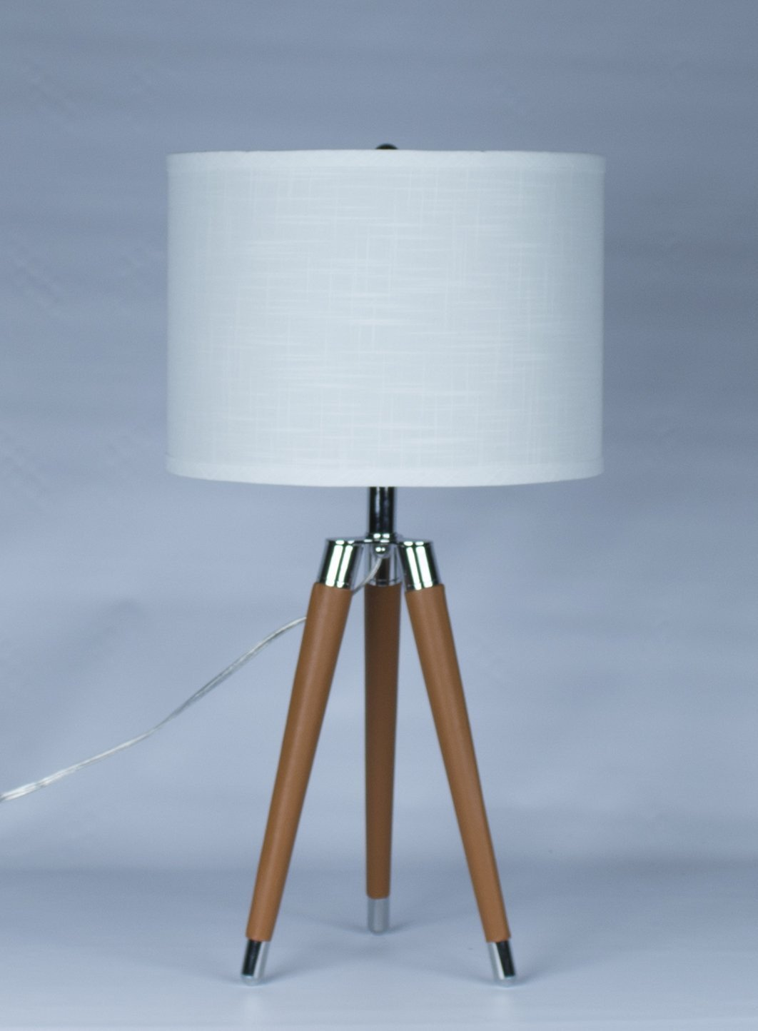 Camel Mid Century Modern Tripod Leather & Chrome Table Lamp with Drum Hardback Shade