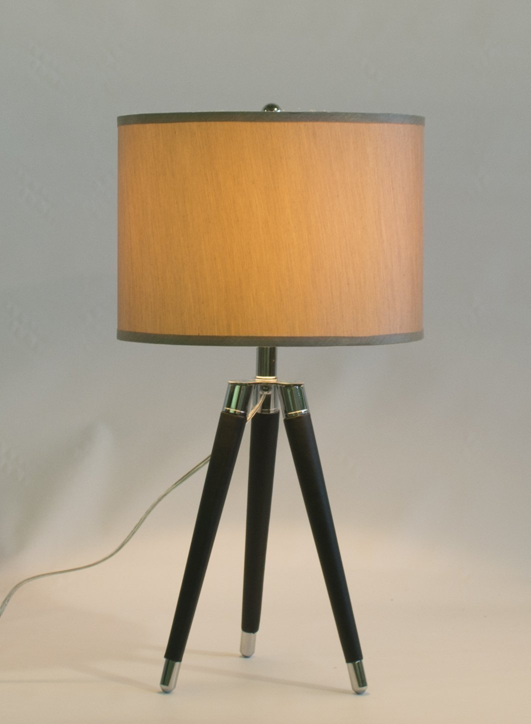 Black Mid Century Modern Tripod Leather Chrome Table Lamp With 14 Inch Champagne Drum Shade