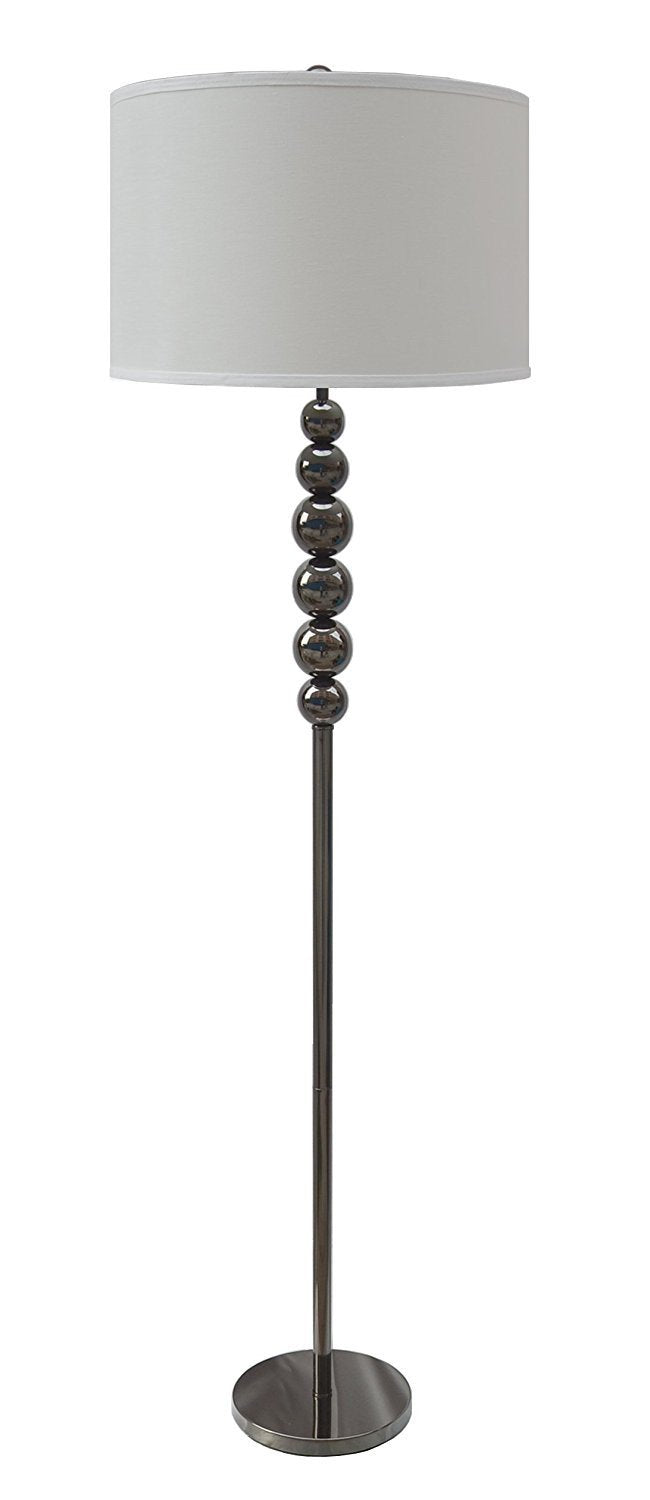 Stacked Ball Floor Lamp with Linen Shade, Black Nickel