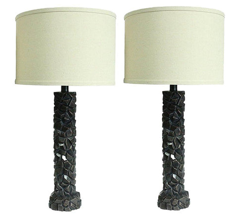 Set of 2 Duvy Lamps in Paris Bronze with Natural Linen Shades