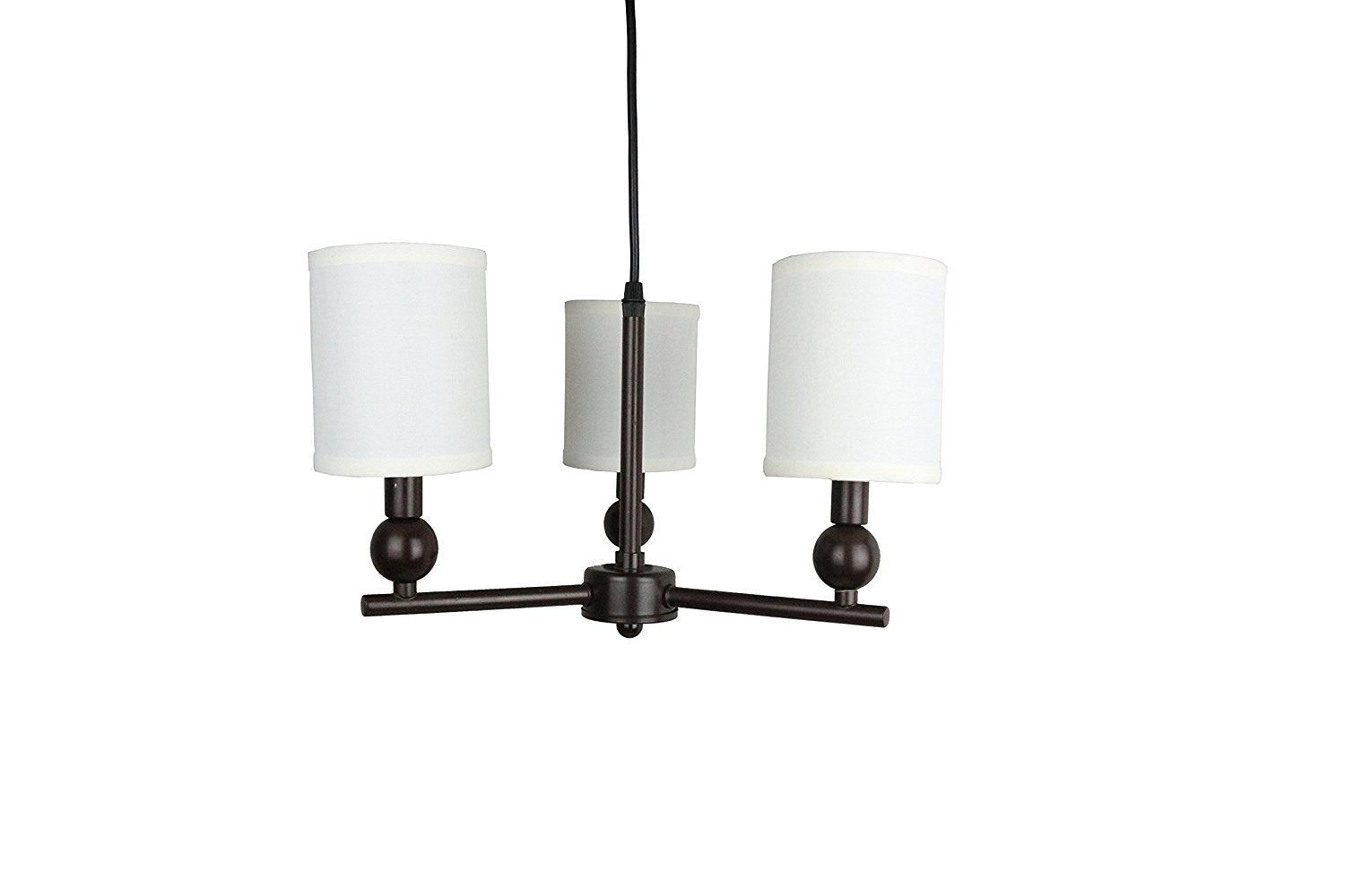 Portable Zio 3-Light Chandelier with Off White Linen Shades