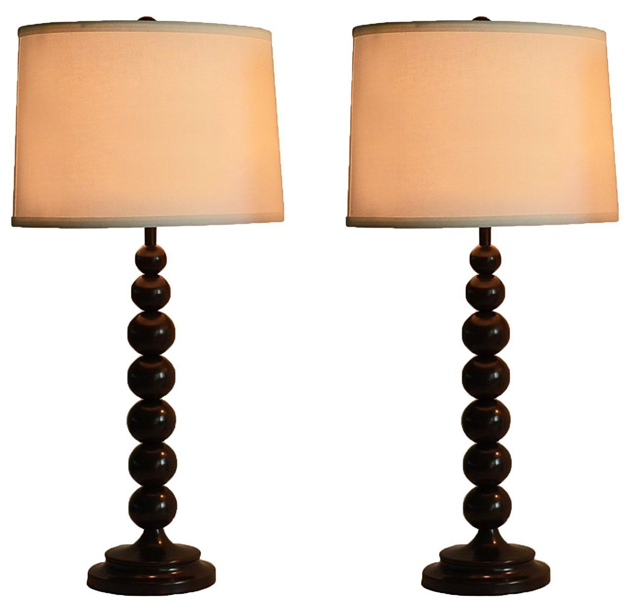 Stacked Ball Table Lamp with Linen Shade, Set of 2