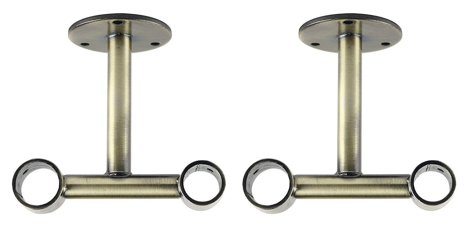 Double Ceiling Bracket for Curtain Rod, Fits 1-inch Front Rod and 3/4-inch Back Rod