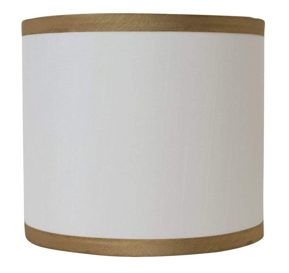 Faux Silk Classic Drum Lampshade With Gold Trim Urbanest