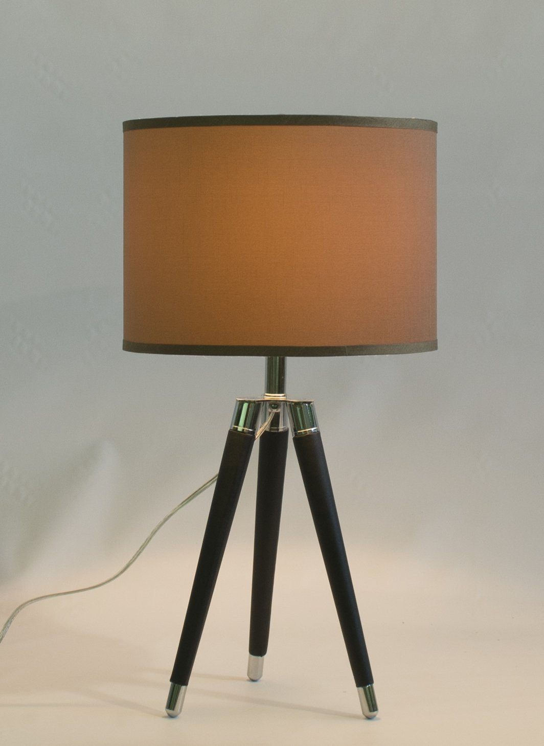 Black Mid Century Modern Tripod Leather & Chrome Table Lamp with 14-inch Taupe Drum Shade