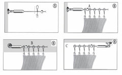 Curtain Drapery Cable Wire Rod Set System with 24 Clips