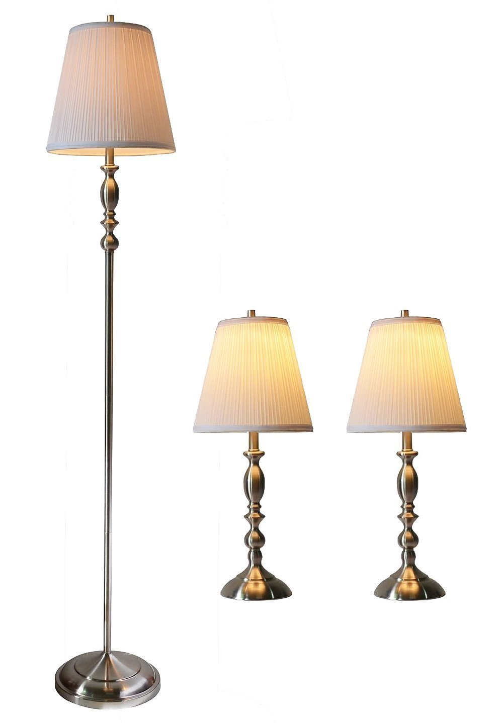 Eleanor 3 Piece Table And Floor Lamp Set With Shades