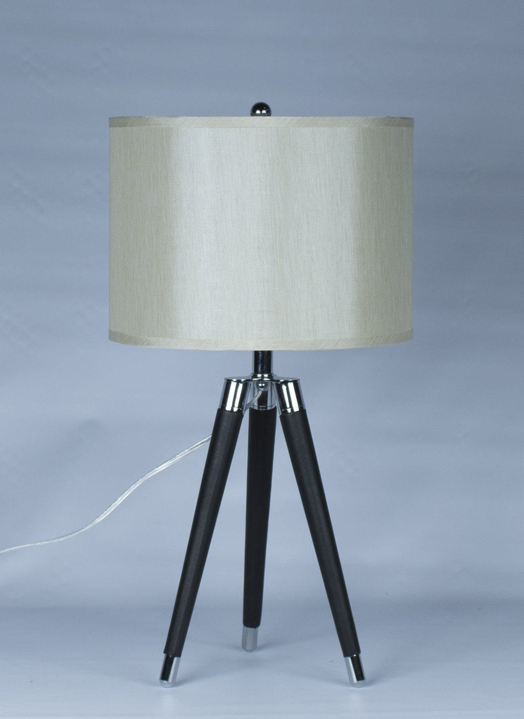 Black Mid Century Modern Tripod Leather & Chrome Table Lamp with Drum Hardback Shade