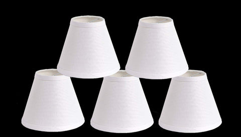 Urbanest Pure Linen Chandelier Lamp Shades, 6-inch, Hardback Clip On, White(set of 5)
