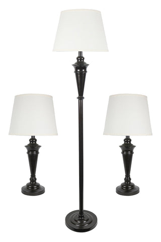 Peterson Set of 3 Table and Floor Lamps - 3 Finishes