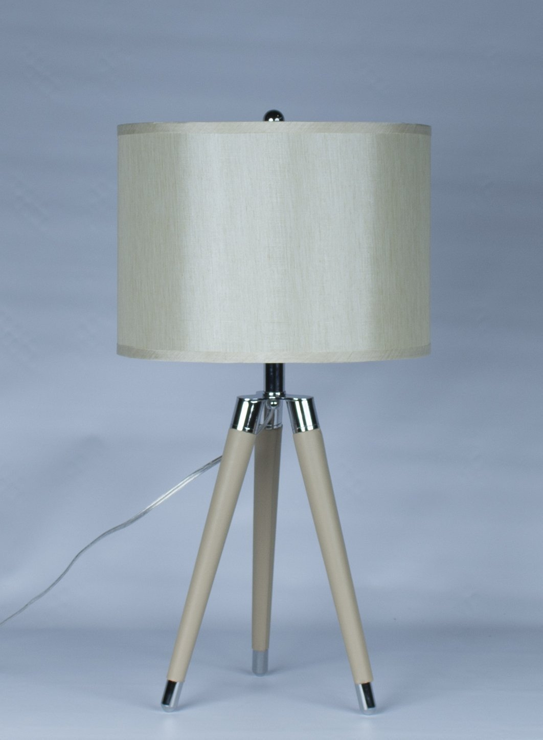 Tan Mid Century Modern Tripod Leather Chrome Table Lamp With Drum