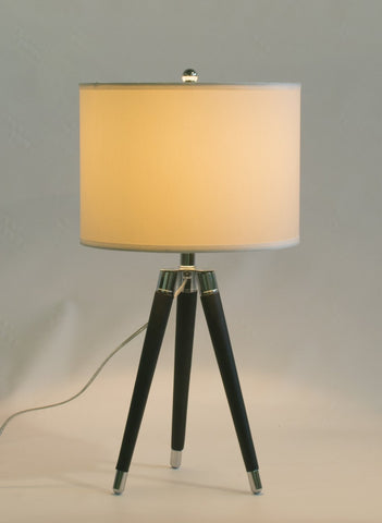Black Mid Century Modern Tripod Leather & Chrome Table Lamp with 14-inch White Drum Shade