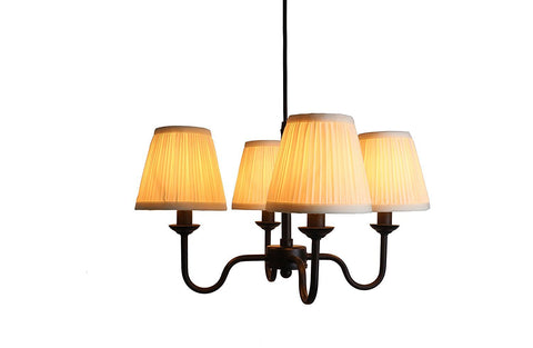Portable Shire 4-Light Chandelier with Eggshell Mushroom Pleated Shades