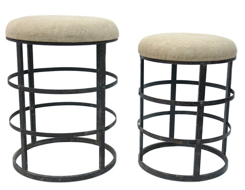 Iron Stool W/ Linen Upholstery, Set of 2, Vintage, Industral, LOFT & Urban