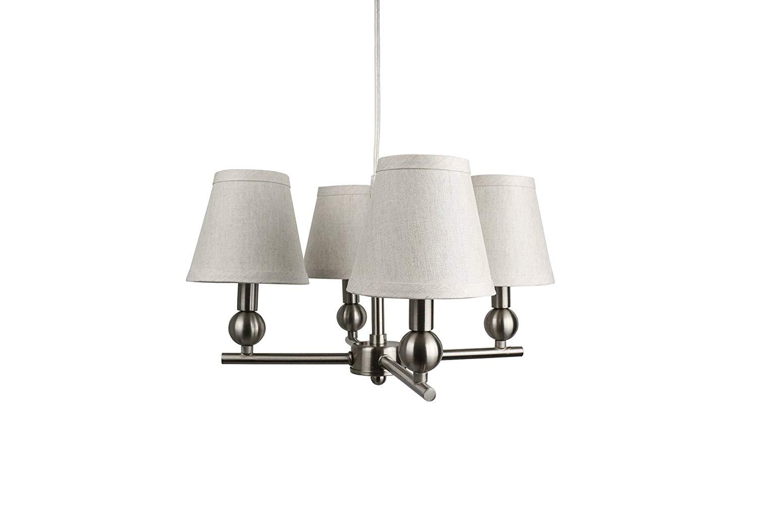 Portable Zio 4-Light Chandelier with Oatmeal Linen Shades
