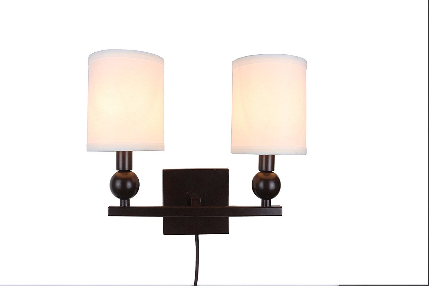 Zio Double Bulb Cord Wall Sconce with Off White Linen Shades