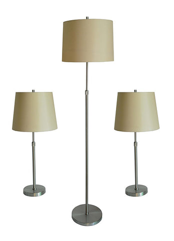 Cooper 3-piece Adjustable Floor and Table Lamps - 2 Finishes