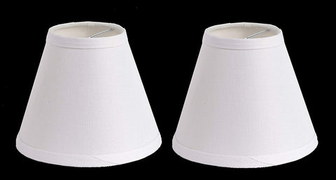 Urbanest 100% Linen Chandelier Lamp Shades, 6-inch, Hardback Clip On, White(set of 2)