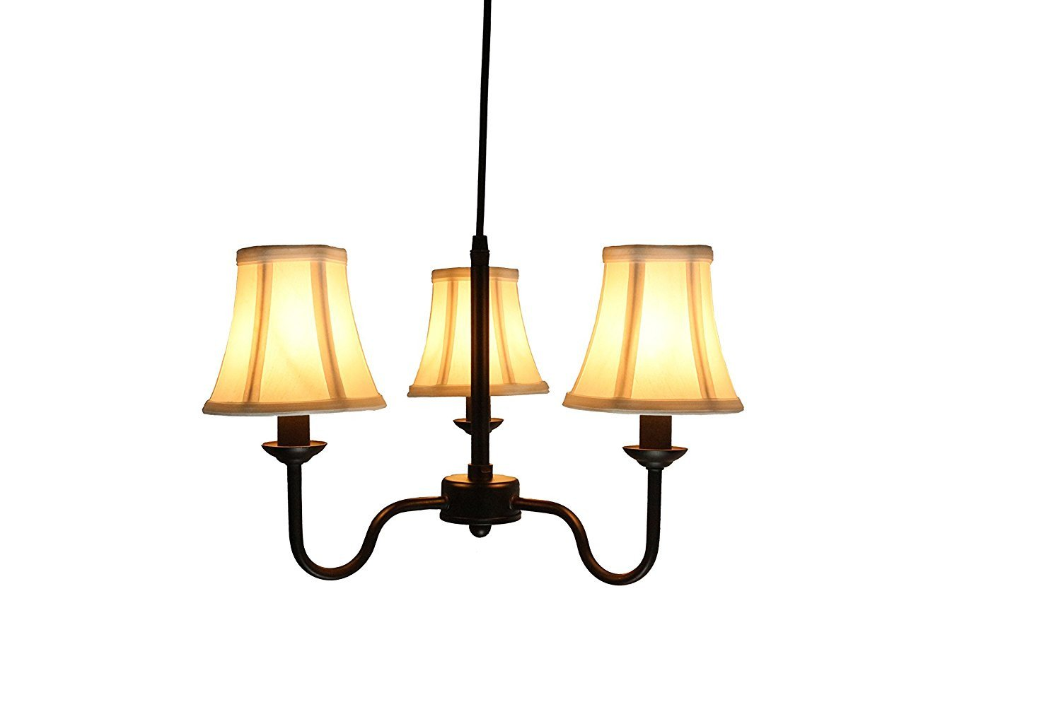 Portable Shire 3-Light Chandelier with Off White Silk Bell Shades