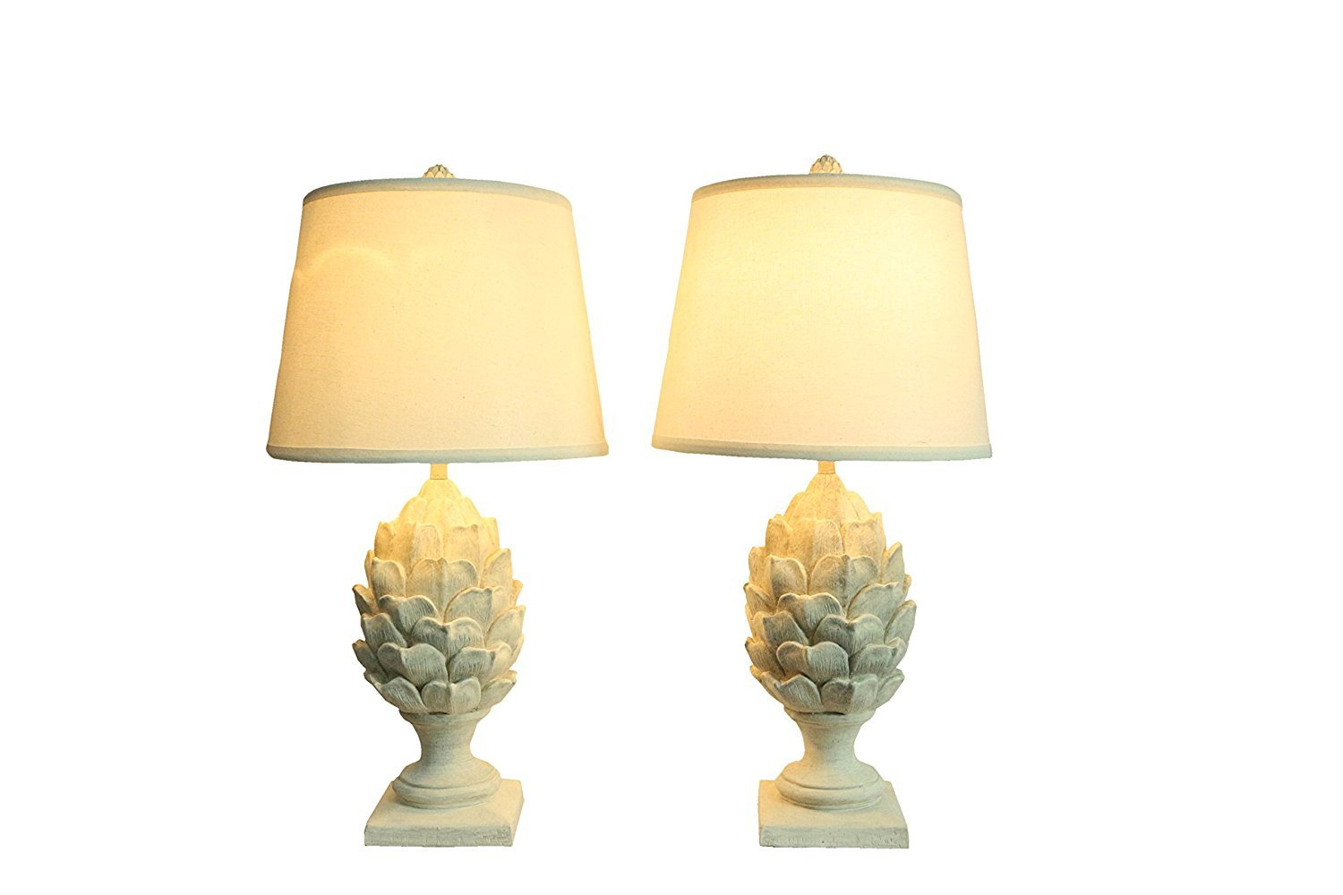 Set of 2 Artichoke Table Lamps, Weathered White