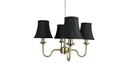 Portable Shire Chandelier with Black Silk Bell Shades, Antique Brass Finish