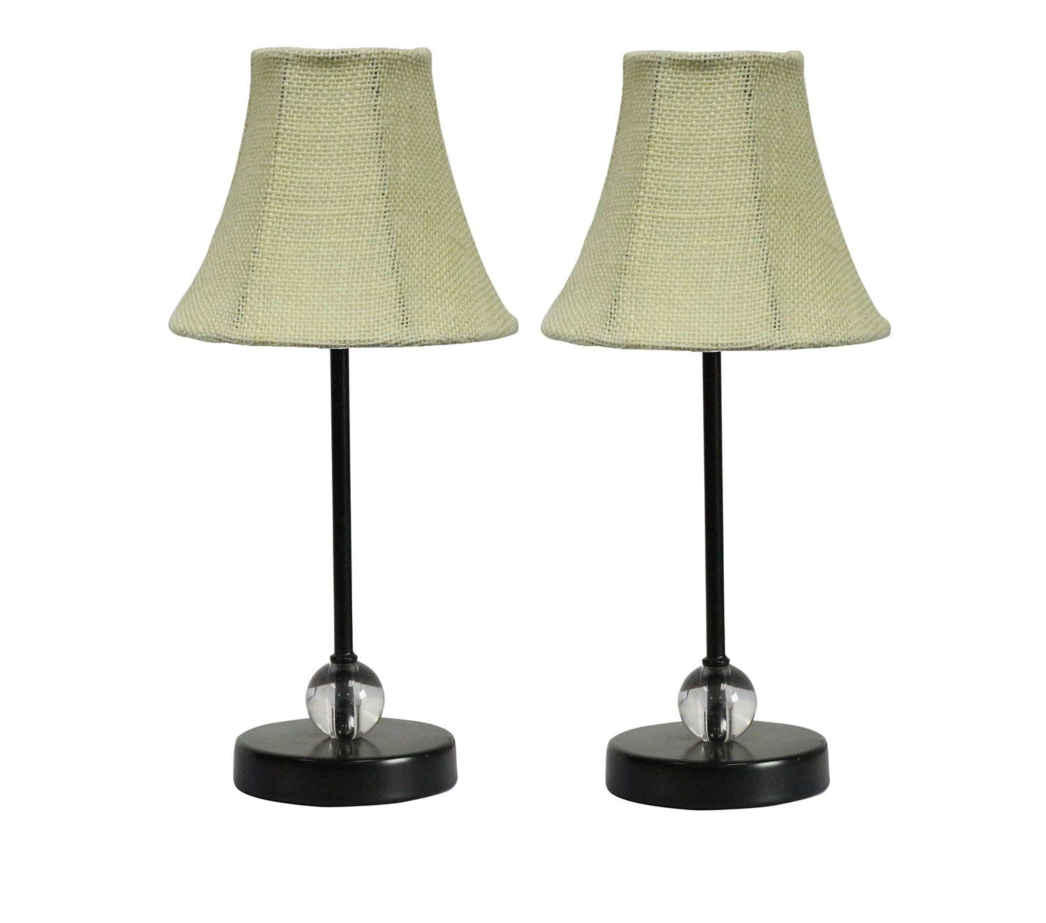 Chelsea Mini Accent Lamp with Ivory Burlap Bell Lamp Shade