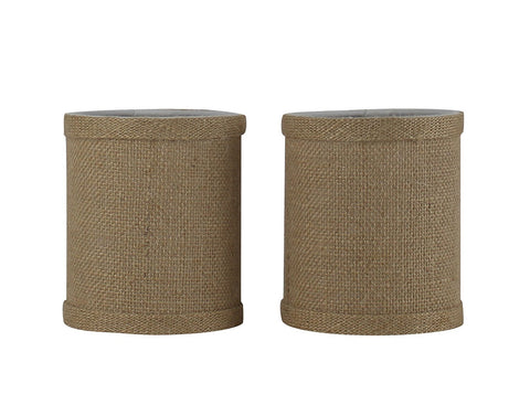Burlap 4-inch Drum Chandelier Lamp Shade