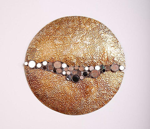 "Contemporary Round Wall Decor with Mirrors, 27.75"" Diameter, Copper Finish."