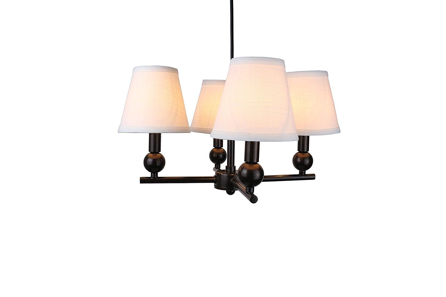 Portable Zio 4-Light Chandelier with Off White Linen Hardback Shades