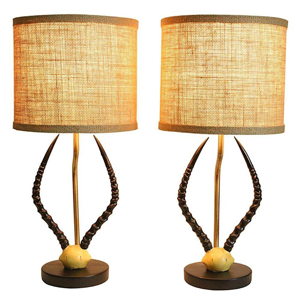 Cody Horn Table Lamps with Shades, Set of 2