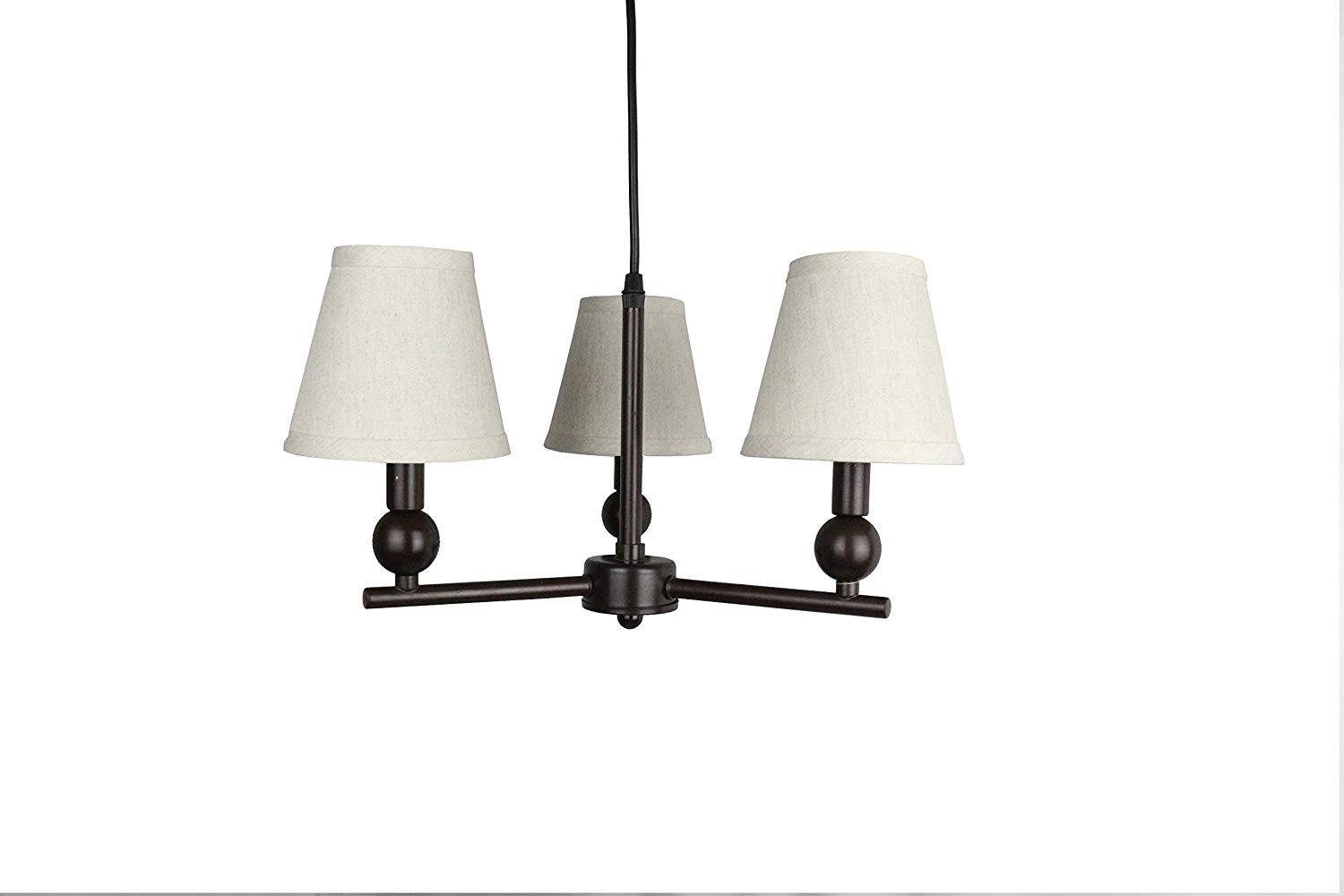 Urbanest Portable Zio 3-Light Chandelier with Oatmeal Linen Shades