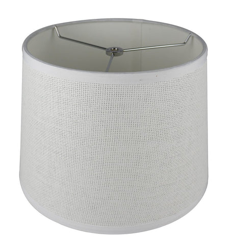 French Drum Lampshade, Woven Paper, 12-inch by 14-inch by 10-inch, Spider Washer Fitter