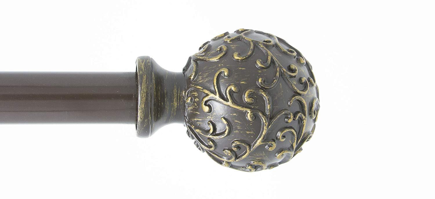 Urbanest 1-inch Diameter Scroll Ball Adjustable Single Drapery Curtain Rod