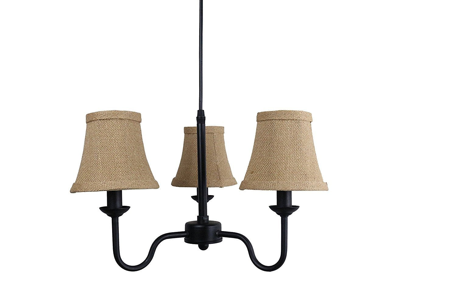 Portable Shire 3-Light Chandelier with Burlap Bell Shades