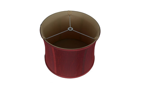 "Softback Drum Lampshade, Faux Silk, 10x11x8"", Burgundy, Spider"