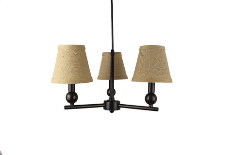Portable Zio 3-Light Chandelier with Burlap Hardback Shades